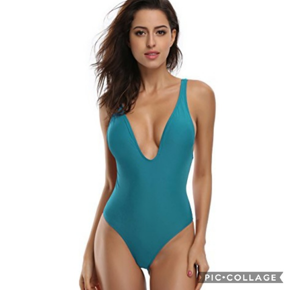 ba7b830da9f Balanciga Swim | New Plunge One Piece Suit Teal Low Back Padded ...